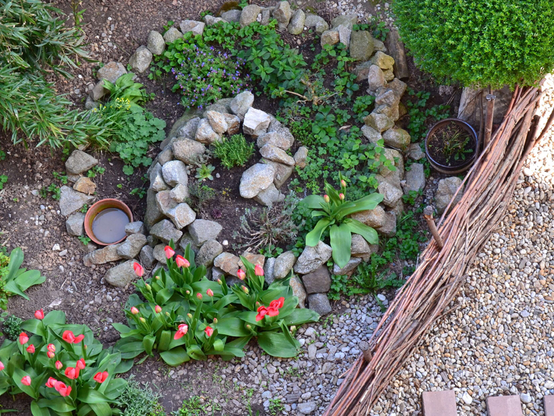 Kräuterspirale mit Mini-Teich